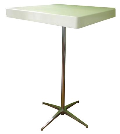 שולחן בר לבן רגל ניקל