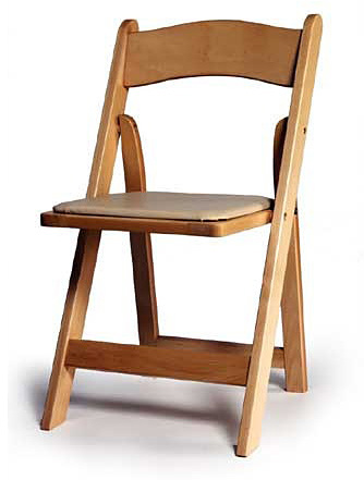 כיסא עץ מתקפל טבעי - Wood padded folding chair natural