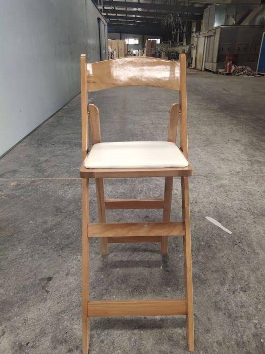 כיסא בר עץ מתקפל טבעי