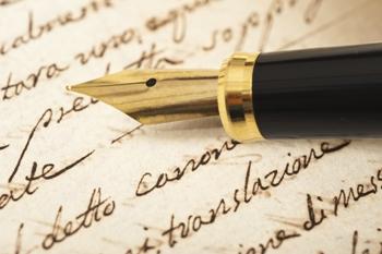 כתיבה עם עט של קופירייטינג באנגלית