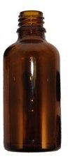בקבוק זכוכית חום 50 מל הברגה 18