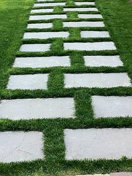 נתיב דריכה על אבן חיפוי שזור לאורך המדשאה