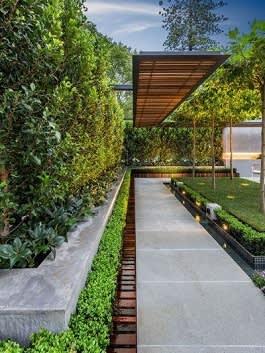 ריצוף גדול לגינה לכל אורכה עם טרסה שמחופה באותו סוג של אריח