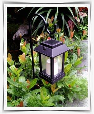 עששית תאורה על סטנד בין צמחייה נמוכה