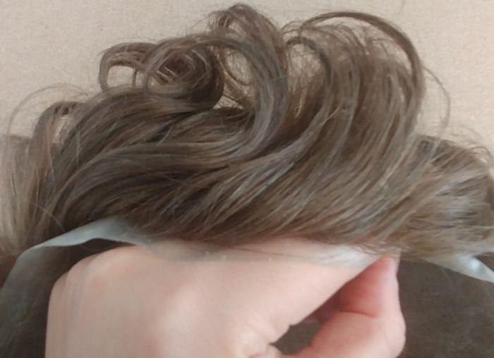 תוספת שיער לגבר דגם מונוטק #חום בינוני אפרפר