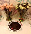 זר פרחי שוקולד על מקל קינמון