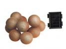 שרשרת סולארית 10 כדורים ארוגים זהב-ורוד L26260