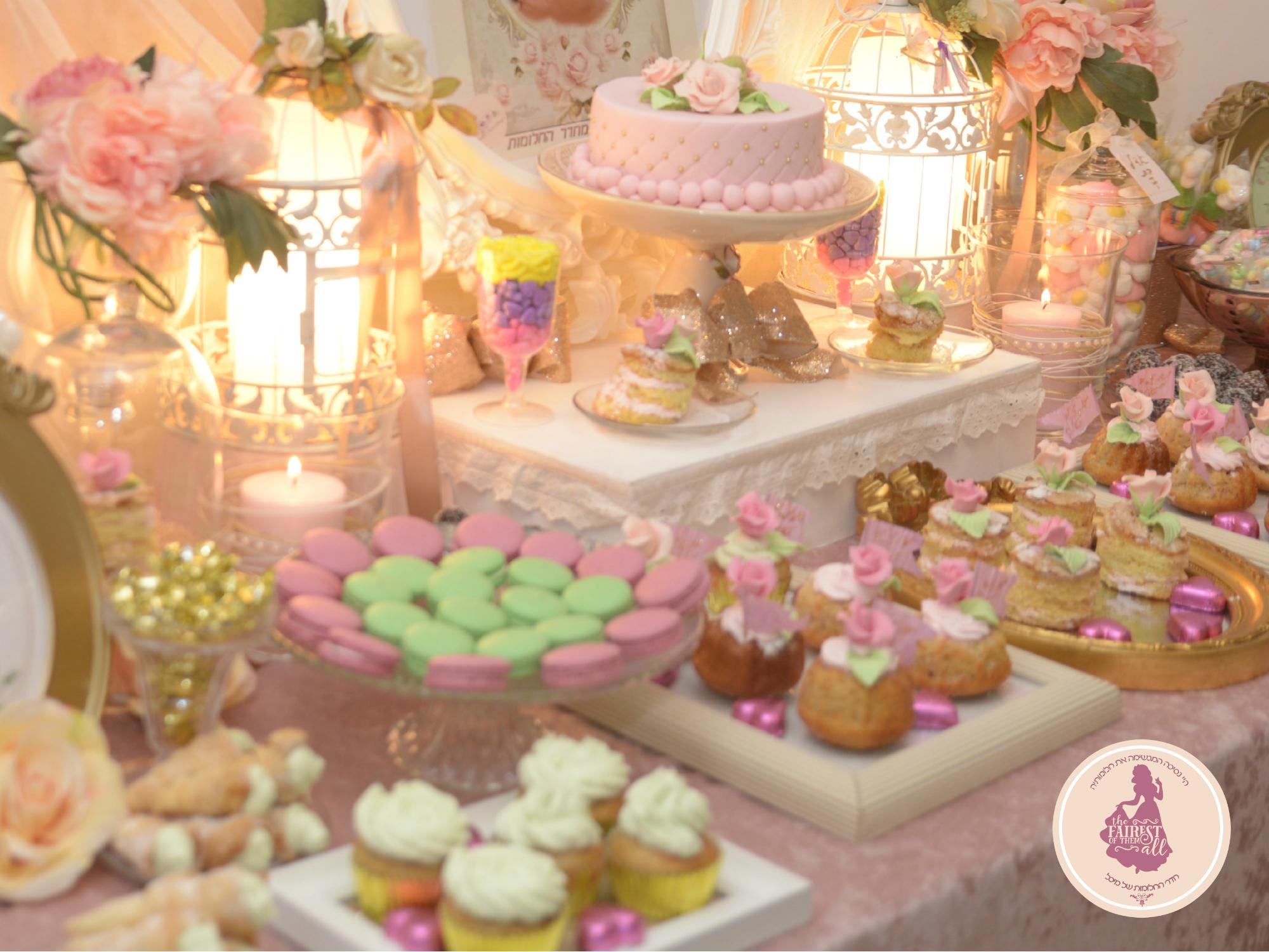 שולחן בר מתוק ליום הולדת נסיכותי לבנות