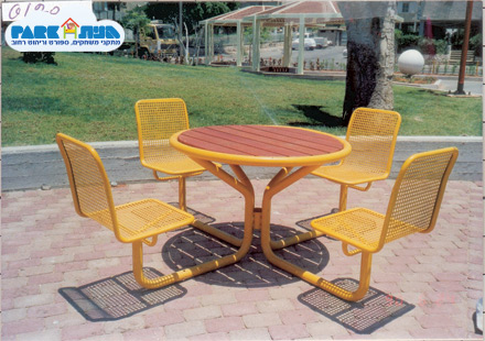 """שולחן דגם קרוסל עם חיפוי שולחן מעץ מק""""ט 6120"""