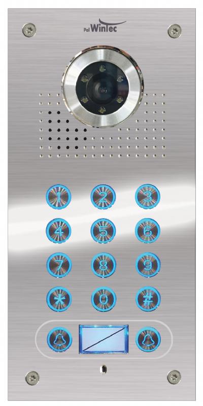 פאנל נירוסטה כולל מצלמה  משולב שני לחצנים וקודן מו