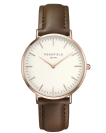 שעון יד רוספילד ROSEFIELD BOWERY WHITE BROWN ROSE GOLD