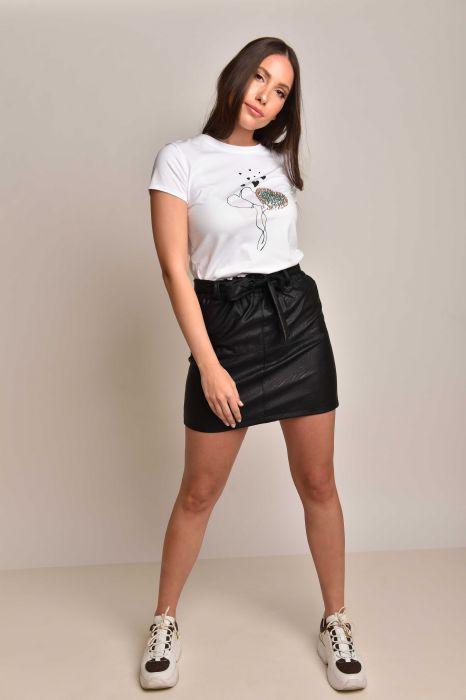 חצאית דמוי עור שחור חגורה