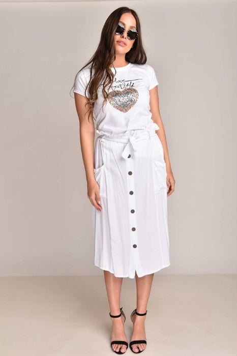 חצאית כפתורים לבנה