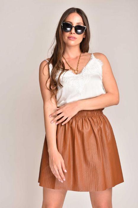חצאית דמוי עור כאמל