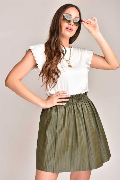 חצאית דמוי עור ירוק זית