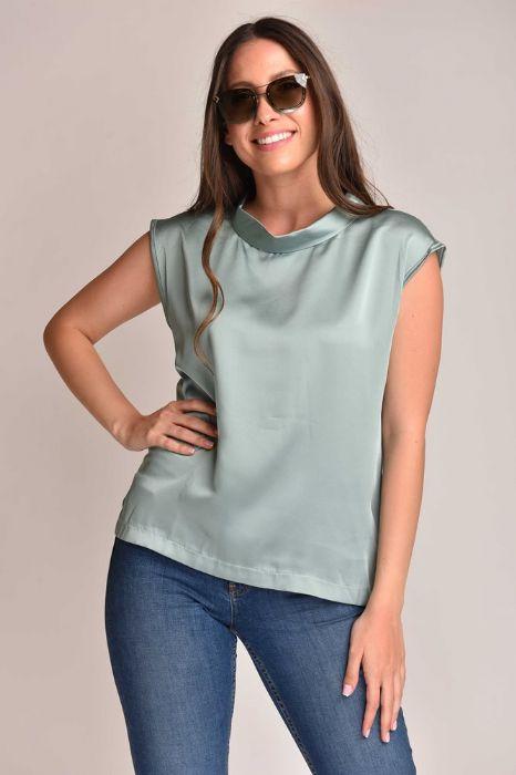 חולצת סטן צווארון עגול