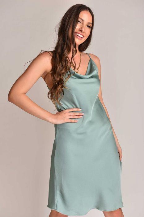 שמלה סטן בצבע פיסטוק