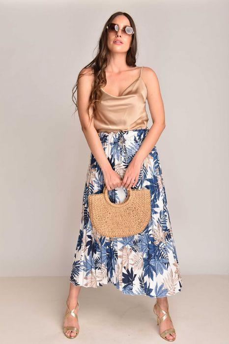 חצאית פרחים בגווני כחול