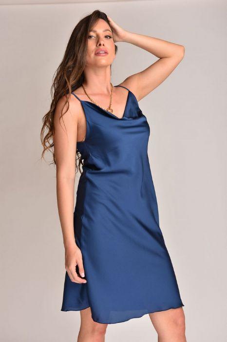 שמלה סטן בצבע כחול