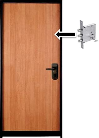 דלת פלדה מחוזקת בעלת 10 בריחים ומערכת נעילה עליונה