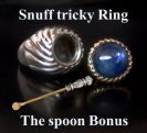 Snuff ring A secret box With  Snuff Spoon