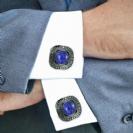 Men's Cufflinks Sterling Silver with Blue Lazuli Gemstones Unique