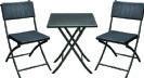 סט שולחן מרובע + 2 כסאות מתקפלים rattan מבית פלנרו