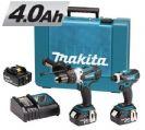 סט מברגה + אימפקט 18V כולל 3 סוללות 4AH דגם DLX2005 מבית Makita