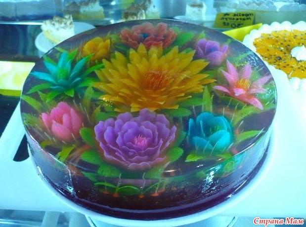 ג'לי שקוף עם פרחים צבעוניים