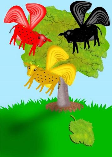 פרות מעופפות על רקע