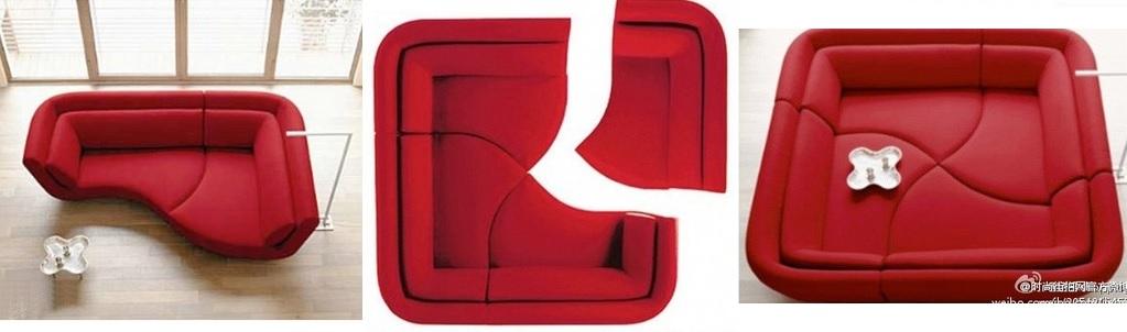 ספת ארבעה חלקים אדומה