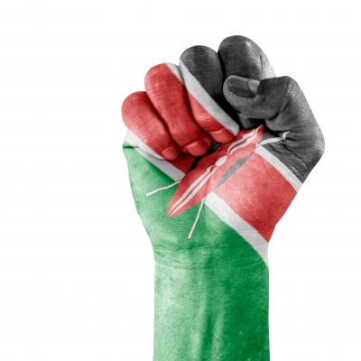 דגל של קניה על היד