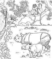 דף צביעה קרנפים בגן חיות