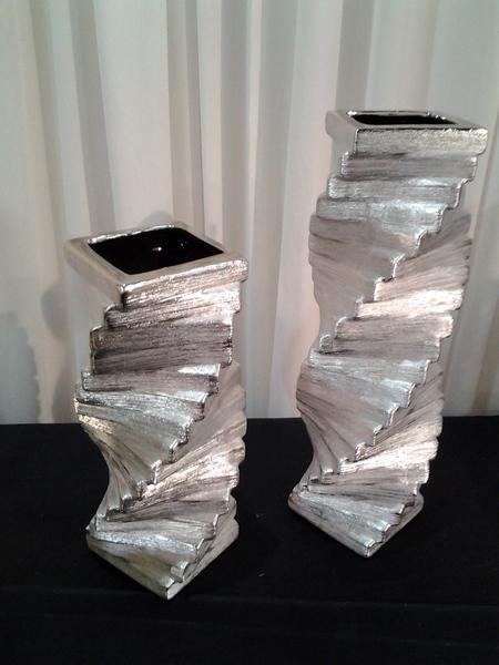 10209- כלי קרמיקה כסף מדרגות  גדול
