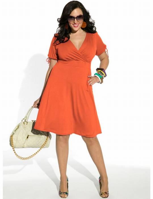 Angie Faux Wrap Dress כתומה
