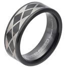 """טבעת טונגסטן לגבר עם ציפוי שחור מוברק, בעיטורי לייזר מעוינים שחורים בעובי 8 מ""""מ במבצע"""