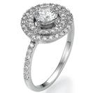 """טבעת אירוסין """" דאבל הילו"""" המשובצת ב-58 יהלומים במשקל של כ 0.5 קרט בצבע F וניקיון SI1."""