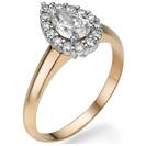 """טבעת אירוסין """"רונה"""" המשובצת ביהלום מרכזי בצורת טיפה וכ- 0.3 קרט יהלומים צדדים בצבע G וניקיון SI1."""