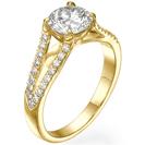 """טבעת אירוסין """" דאבל V"""" המשובצת ב 34 יהלומים במשקל של כ- 0.22 קרט בצבע G וניקיון SI1 עם חיתוך VERY GOOD או IDEAL למקסימום ברק."""