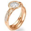 """טבעת אירוסין כפולה """"ניקול"""" זוהי טבעת מיוחדת במינה שכן היא מהווה שתי טבעות המתחברות יחד ומעוטרת ב 60 יהלומים במשקל של כ 0.45 קרט בצבע F וניקיון SI1."""