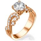 טבעת אירוסין בסגנון ויקטוריאני עתיק המשובצת ב 0.25 קרט יהלומים צדדיים.