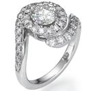 טבעת אירוסין עשירה ביהלומים כ- 0.8 קרט בצבע G וניקיון VS2 במראה של שחקנית מפורסמת.