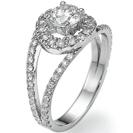 """טבעת אירוסין """"יוליה"""" מועשרת בכ-0.5 קרט יהלומים קטנים בצבע G וניקיון SI1."""