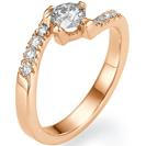 """טבעת אירוסין יוקרתית """"דורין"""" בעלת 4 שיניים בעיצוב ציפורני חתול לחשיפה מקסימלית של היהלום, משובצת ביהלומים."""