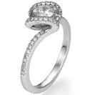 טבעת אירוסין מתפתלת משובצת ב 50 יהלומים במשקל של כ- 0.25 קרט בצבע F וניקיון SI1.