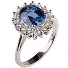 """טבעת אירוסין """"הנסיכה דיאנה"""" משובצת בספיר כחול במשקל של כ 1.3 קרט ו14 יהלומים צדדים במשקל 0.4 קרט בצבע F וניקיון SI1."""
