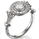 """טבעת אירוסין בסגנון עתיק """"ויקטוריאנית"""" המשובצת ב  28 יהלומים במשקל של כ-0.3 קרט בצבע H וניקיון VS2."""
