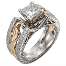 """טבעת אירוסין """"ארט דקו"""" בעיצוב מודל ענתיק, הטבעת משובצת ב-48 יהלומים במשקל של כ-0.5 קרט בצבע G וניקיון VS2."""