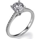 """טבעת אירוסין צרה ועדינה המשובצת ב 30 יהלומים קטנים אשר מהווים סה""""כ כ0.2 קרט בצבע F וניקיון VS2."""
