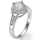 טבעת אירוסין עם יהלומים צדדיים מרשימה ובעלת נוכחות מרשימה המשובצת ב 0.17 קרט יהלומים צדדיים בצבע G וניקיון SI1.